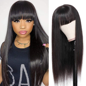 Affordable Wig with Bangs human hair - Easy get up & go. Low maintenance 14inch - 26inch Available