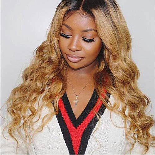 20 Inch Blonde wig with dark shadow Roots Ombre Balayage Hair Color 1B Fading To 6 and 27 Honey Blonde Highlighted human hair