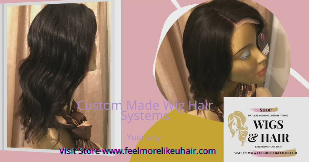Custom Made Wig Front lace 10 inch Body Wave 100% Virgin Human Hair System