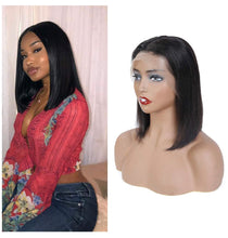 Load image into Gallery viewer, Custom Straight Human Hair Lace Front Bob Wig Pre Plucked with Baby Hair  10 inch