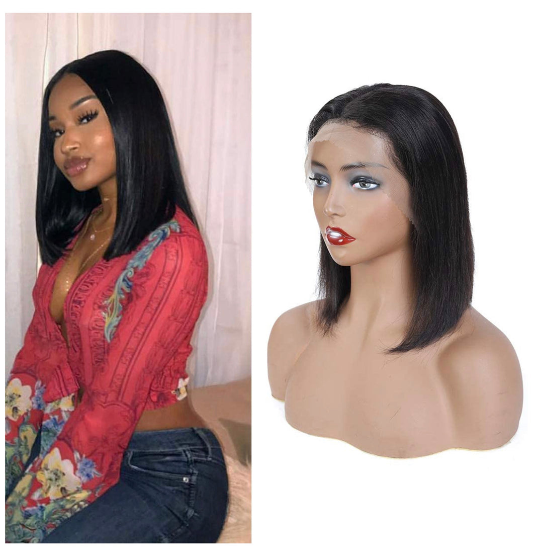 Custom Straight Human Hair Lace Front Bob Wig Pre Plucked with Baby Hair  10 inch