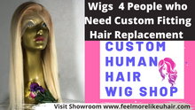 Load and play video in Gallery viewer, custom-wigs-extensions-toupee-hair-pieces-hair-solutions-feelmorelikeuhair.com