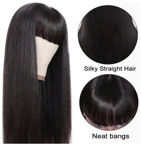 Straight Human Hair Wigs with Bangs (26inch) 9A None Lace Front Wigs Human Hair for Black Women 150% Density Glueless Machine Made Brazilian Remy Hair..