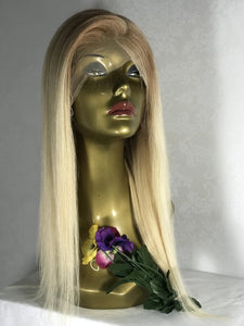 Ombre Blonde Lace Front Wig Straight Human Hair Wig 2 Tones Golden Brown to Bleached Blonde 613 Pre Plucked Hairline with Baby Hair 150% Density for Women Glueless 13x4 Lace Wig Bleached Knots16""