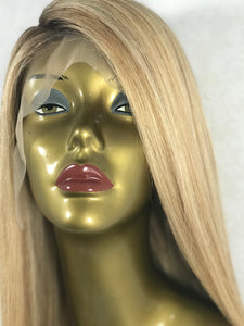 "22"" Amelia Customized Wig Golden Blonde With With Partial Rooting Human Hair"