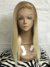 Load image into Gallery viewer, Ombre Blonde Lace Front Wig Straight Human Hair Wig 2 Tones Golden Brown to Bleached Blonde 613 Pre Plucked Hairline with Baby Hair 150% Density for Women Glueless 13x4 Lace Wig Bleached Knots16""