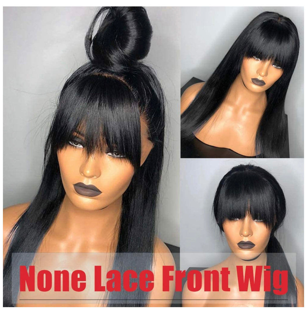 Straight Human Hair Wigs with Bangs (26inch) 9A None Lace Front Wigs Human Hair for Women Natural Black 150% Density Glueless Machine Made Brazilian Remy Hair..