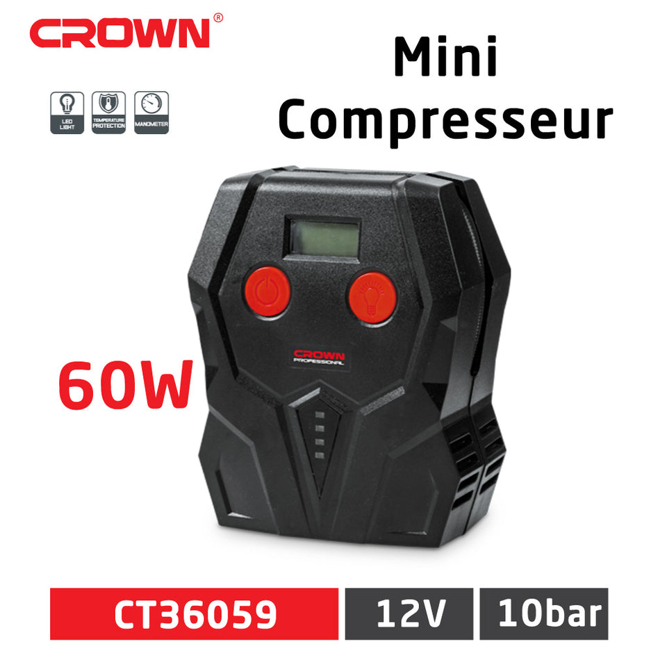 Mini Compresseur 12V avec Lampe LED - CROWN