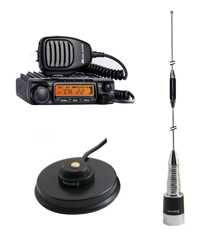 Midland 40W GMRS with Magnetic Mount Whip Antenna