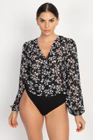 Floral & Shadow Striped Front Wrap Bodysuit