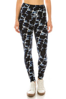 Long Yoga Style Banded Lined Abstract Printed Knit Legging With High Waist.