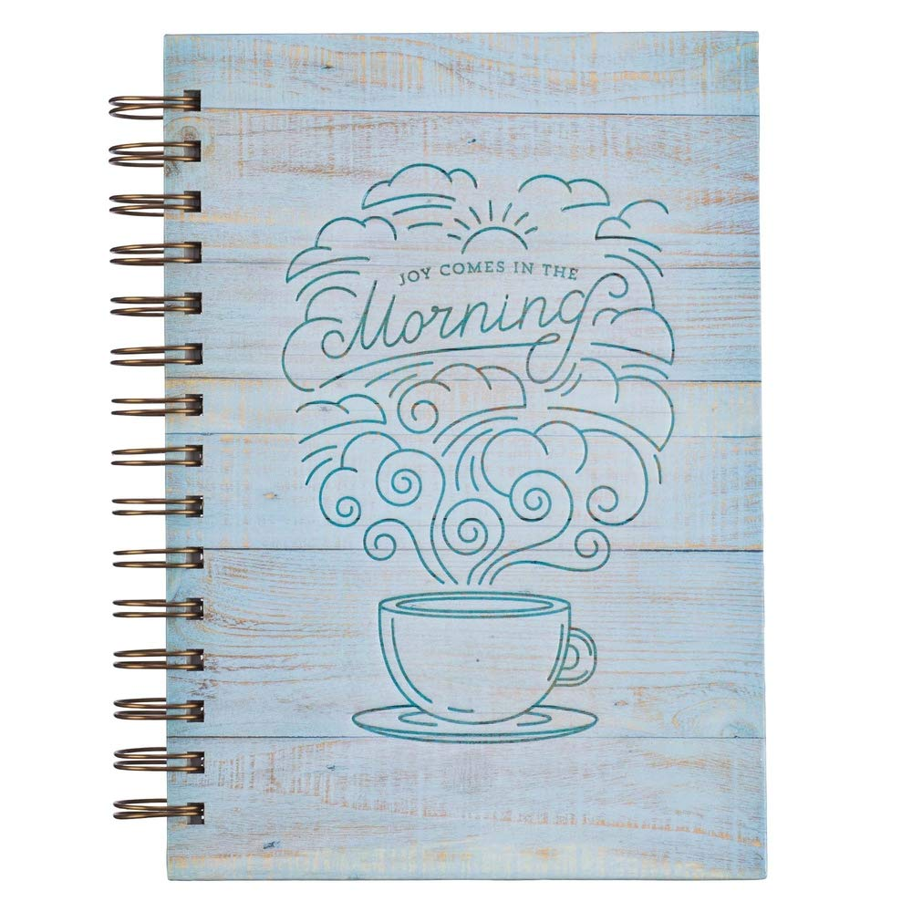 Joy Comes In The Morning Large Wirebound Journal in Distressed Wood - Psalm 30:5
