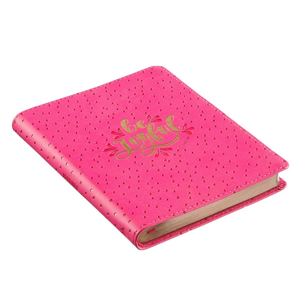 Be Joyful Bright Pink Handy-size Faux Leather Journal