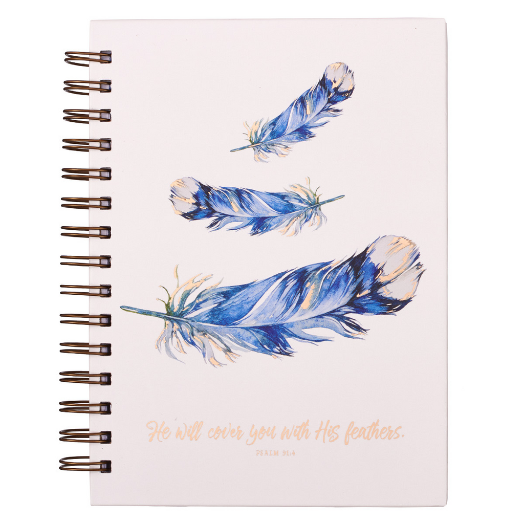 He Will Cover You Under His Feathers Large Hardcover Wirebound Journal - Psalm 91:4