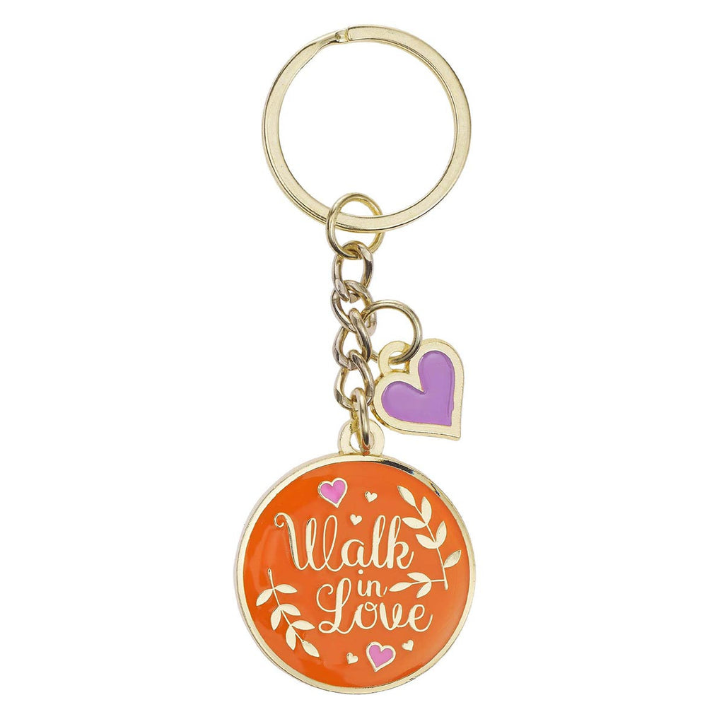 Walk in Love Metal Keyring with Link Chain