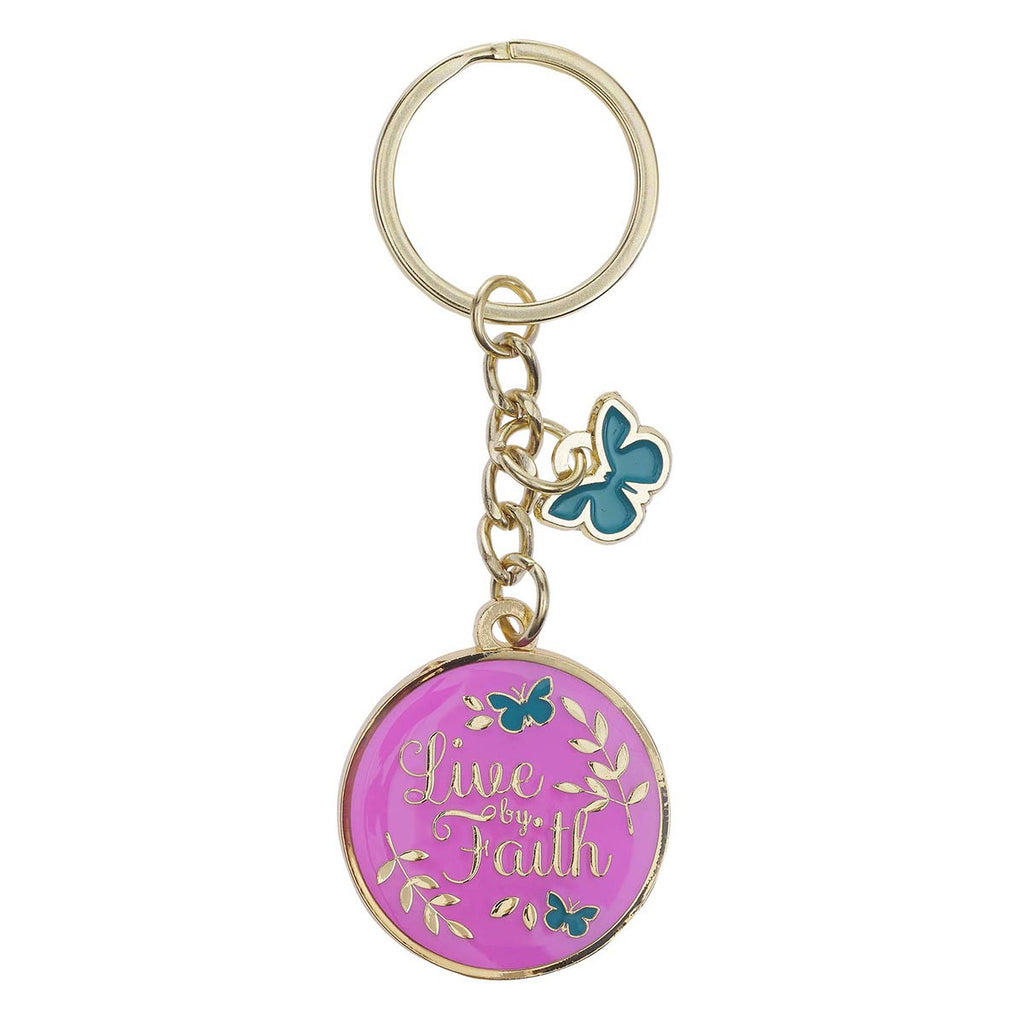 Live by Faith Metal Keyring with Link Chain