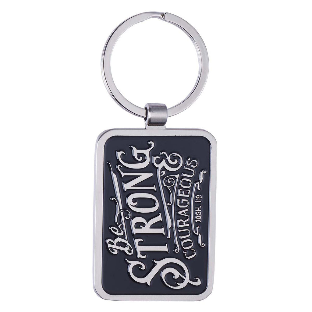 Be Strong & Courageous Black Metal Keyring in Gift Tin - Joshua 1:9