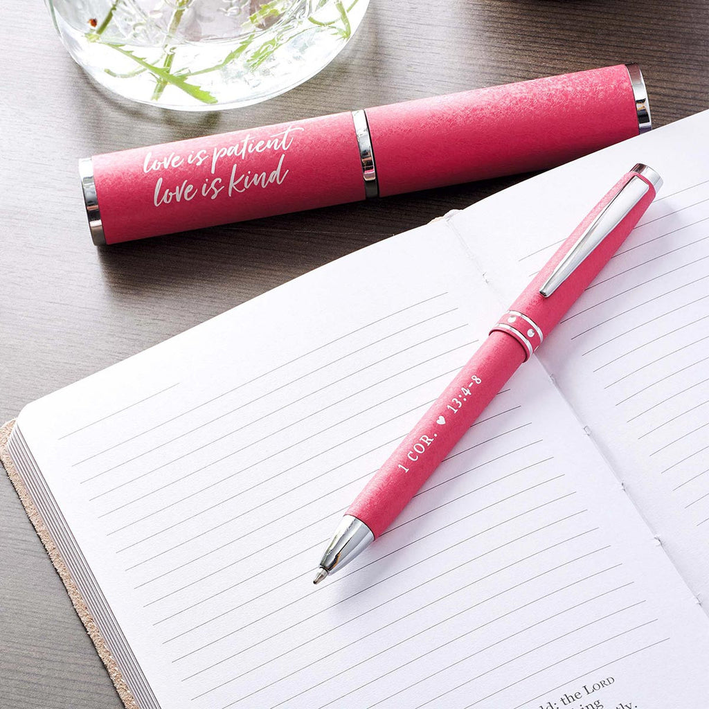 Love Is Patient, Love Is Kind Pink Gift Pen – 1 Corinthians 13:4–8