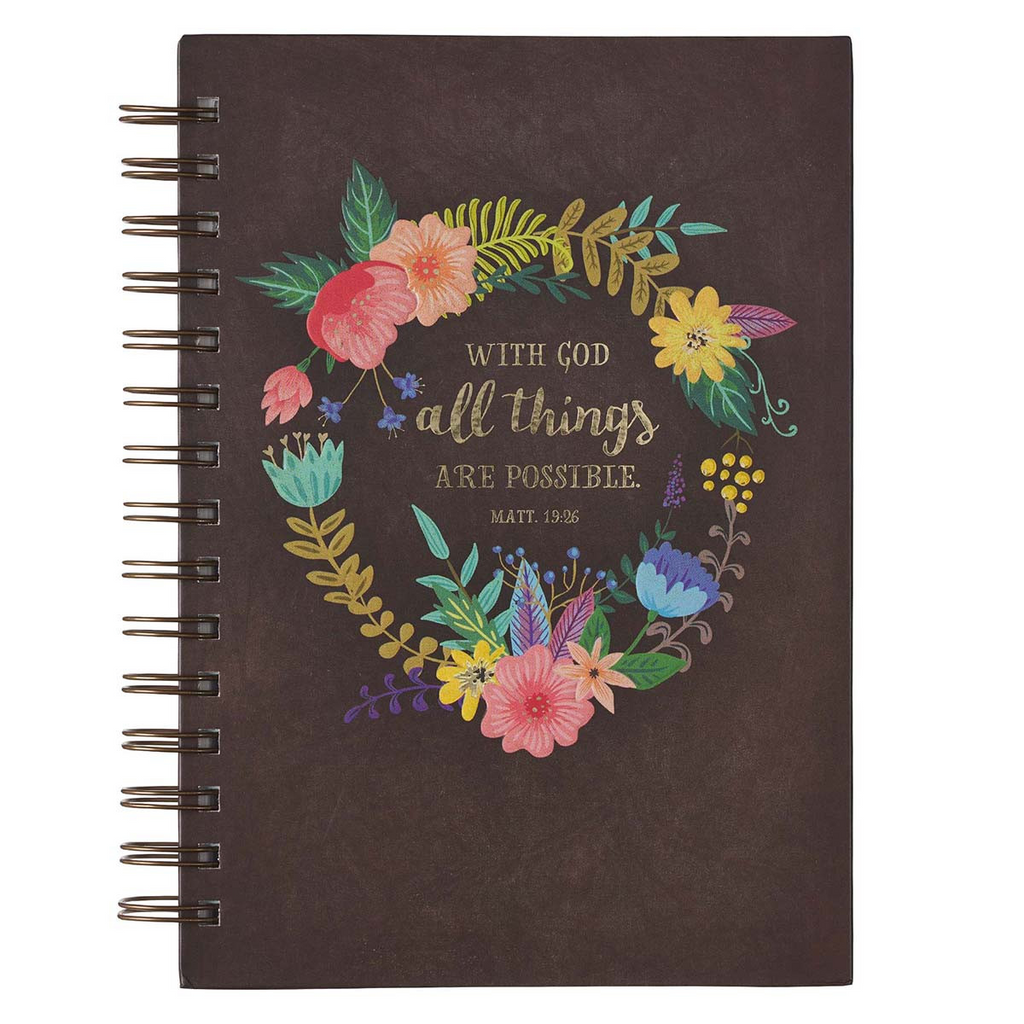 With God All Things Are Possible - Matthew 19:2 Wirebound Journal
