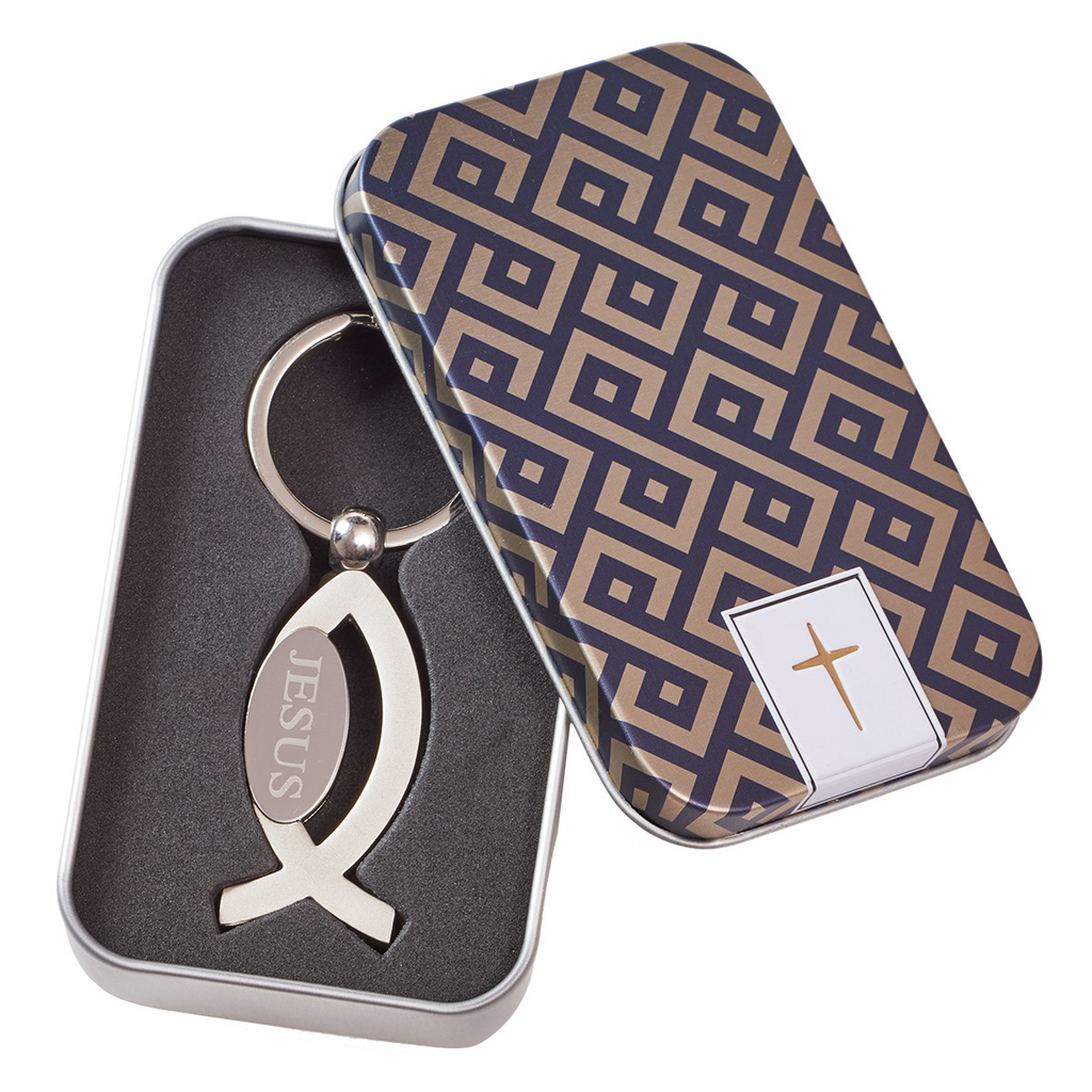 Jesus Fish Keyring in Tin