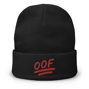 """OOF"" Embroidered Beanie in Black Color"