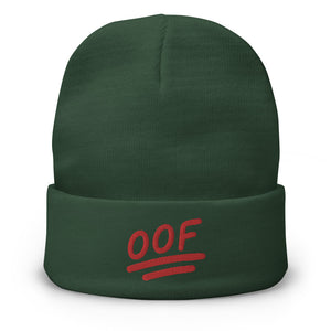 """OOF"" Embroidered Beanie in Green Color"