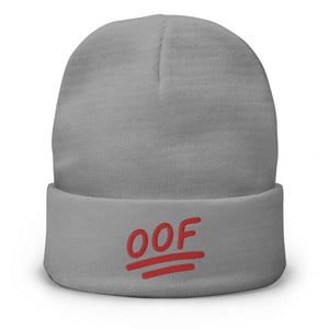 """OOF"" Embroidered Beanie in Gray Color"