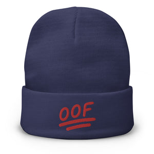 """OOF"" Embroidered Beanie in Purple Color"