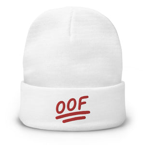 """OOF"" Embroidered Beanie in White Color"