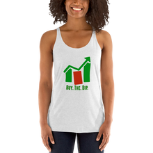 "Load image into Gallery viewer, J&M Option Trading ""Buy The Dip"" White Color Women's Racerback Tank"
