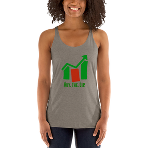 "J&M Option Trading ""Buy The Dip"" Grey Color Women's Racerback Tank"