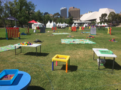 giant games hire for children's entertainment in Adelaide at Events and parties sand and play dough tables