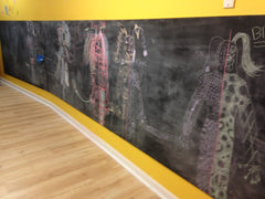 chalk and paint on the walls in our art and craft classes in Adelaide at Splodge