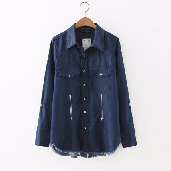Denim Shirt with Embroidery Patch