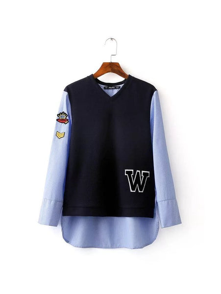 Varsity Inspired Blouse with Badge
