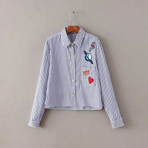 Stripe Shirt with Badge