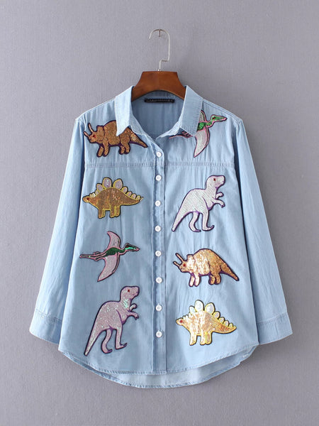 Denim Shirt with Sequin Patch
