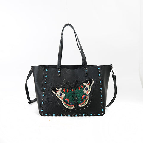 Butterfly Embroidery Bag with Studs (3 Colors)
