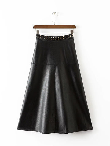 PU Skirt with Studs