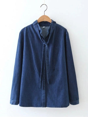 Denim Shirt with Scarf Detail