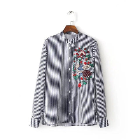 Floral Embroidered Stripe Shirt