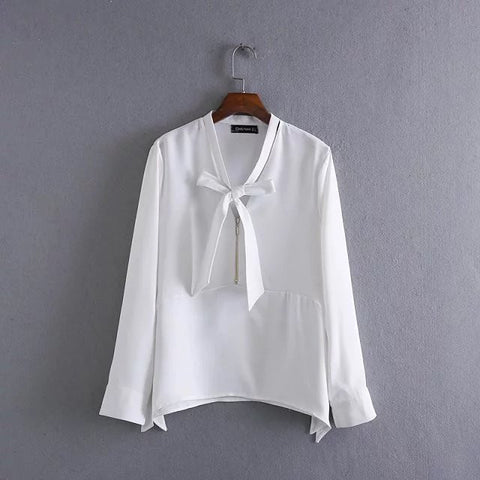 Blouse with Bow-tie Detail