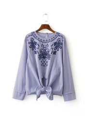 Embroidery Top with Knot