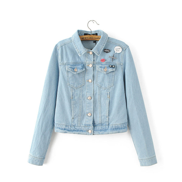 Denim Jacket with Graphic Badge