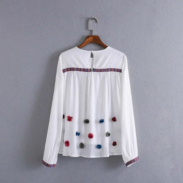 Embroidery Blouse with Pom-Pom