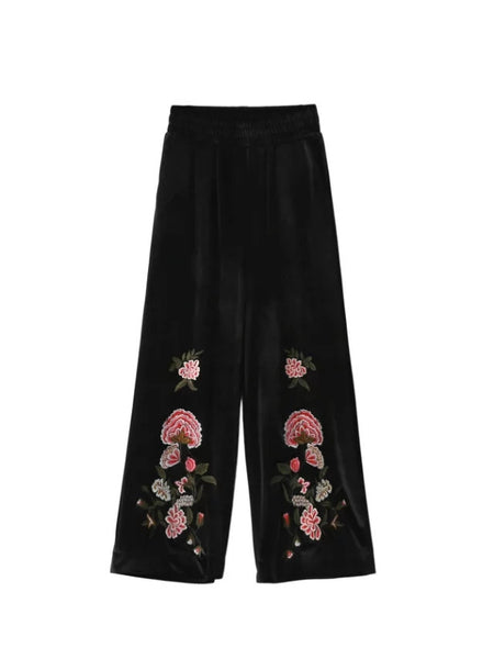 Floral Embroidered Crop Pants