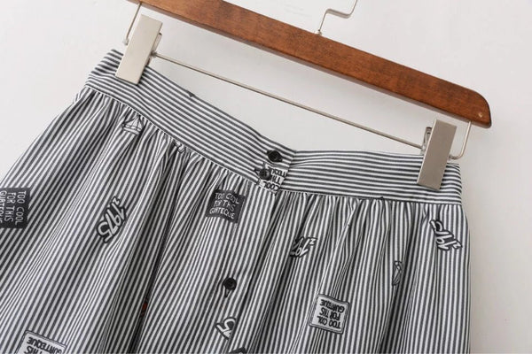 Stripe Skirt with Graphic