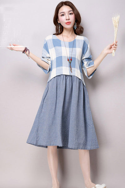 Checkered One Piece Dress  (2 Colors)