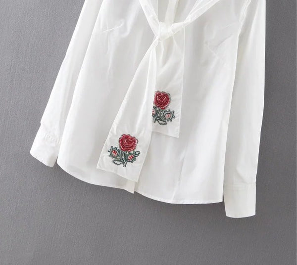 Shirt with Embroidered Scarf