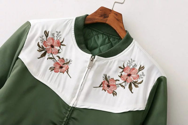 Floral Motif Bomber Jacket (2 Color)
